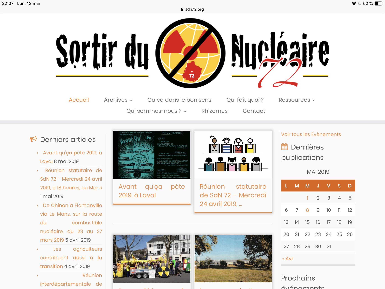 Accompagnement temporaire du site sortirdunucleaire72.org