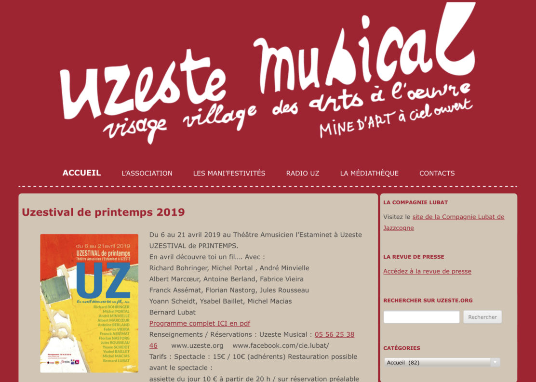 Le site de l'Uzeste Musical qui accompagne la Compagnie Lubat de JazzCogne.