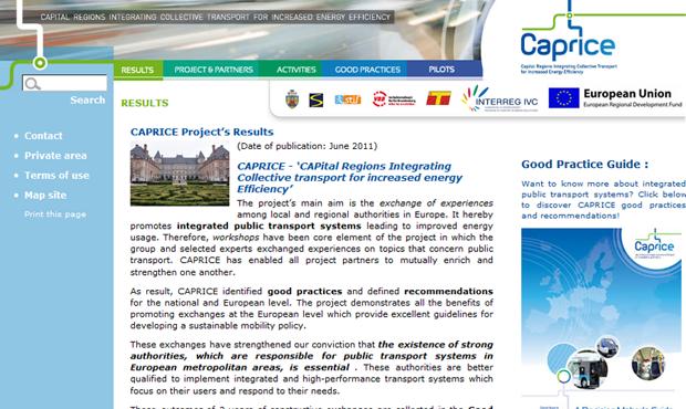 Intégration du design du site CAPRICE