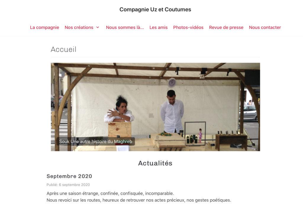 Le site de la compagnie UZ et Coutumes